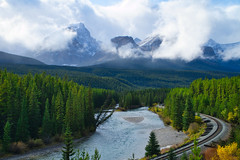 Bow River As Seen From Morant's Curve (Bernie Emmons) Tags: banffnationalpark morantscurve train mountains clouds forests river bowriver natureandnothingelse