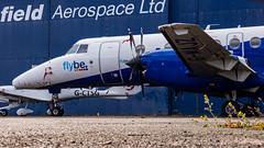 Down in the weeds (Al Henderson) Tags: 41 airfield aviation bae bedfordshire cranfield egtc eze easternairways flybe gmajz jetstream planes university