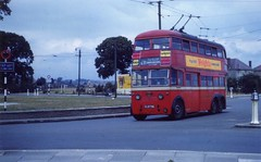 c1953 – London Transport SA2 class trolleybus 1736, East London. (RTW501) Tags: glb736 playersweights weightscigarettes saclass londontrolleybus londontransport trolleybus trolley electric mccw leyland fulwellcross roundabout sa1class sa1