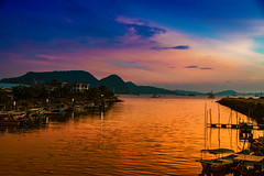 Langkawi (LeBlanc_Nigel) Tags: langkawi sunset sky sea golden pink blue fishing village boats islands tranquil peaceful calm color colors colour