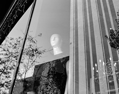 Ready for a night out (RansomedNBlood) Tags: 120film bw blackwhite mamiyarz67 kodaktrix400 wv westvirginia charleston streetphotography mannequin storefrontwindow reflection