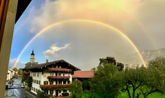 Rainbow over Kiefersfelden, Bavaria, Germany (UweBKK (α 77 on )) Tags: bavaria bayern germany deutschland europe europa iphone kiefersfelden rainbow double regenbogen rain sky cloud herbst autumn autumnal fall