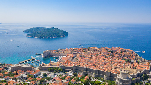 Historical center of Dubrovnik with a view to the Lokrum island, Croatia