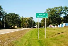 Avoca, Wisconsin (Cragin Spring) Tags: avoca avocawi avocawisconsin smalltown rural wisconsin wi unitedstates usa unitedstatesofamerica road sign population iowacounty