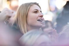 Woman applauds Greta (Streetsblog Denver) Tags: denver colorado unitedstatesofamerica demonstration gretathunberg havencoleman climatechange climateportest fridaysforfuture stike studentstrike student
