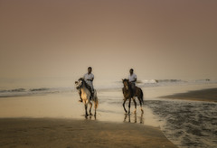 Riders (Pawel Wietecha) Tags: rider horse beach sea ocean water sunset landscape clouds sun sky blue red yellow orange lake travel trip color light colors vivid outside outdoor journey coth5 gambia africa white