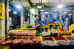 Late Night (OzGFK) Tags: korea tongyeong travel southkorea asia market fishmarket seafoodmarket nikon d800 night lowlight streetfood foodstall shopping smalltown