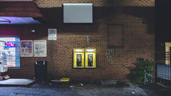 for.the.time.being (jonathancastellino) Tags: toronto vernacular architecture night leica q phone payphone booth plant lot shop plaza frame empty telephone