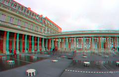 Palais-Royal Paris 3D GoPro (wim hoppenbrouwers) Tags: palaisroyal paris 3d anaglyph stereo redcyan wide gopro cam