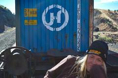 Monica Bielawski on Train with BNSF Beanie (Toasto) Tags: trainhopper girl bnsf trainrider freight train woman beanie monicabielawski burlingtonnorthernsantafe railway shippingcontainer