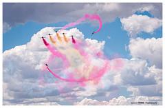 Painting a flag (Ignacio Ferre) Tags: patrullaáguila ejércitodelaire spanishairforce españa spain casac101 mirlo aviojet avión aviation aviación spotting aircraft airplane airshow nikon military militar getafe