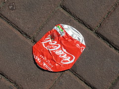 Flat Out (Quetzalcoatl002) Tags: cocacola can crushed street flat bricks amsterdam trash