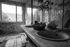 old bath (A.K. 90) Tags: blackandwhite schwarzweis urbex urban abandoned weathered lostplace verlassen old alt sonyalpha6300 samyang12mm20 window fenster sanatorium thüringen