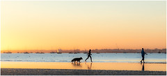 Walking On Water (A Journey With A New Camera) Tags: silhouette sandbanks sunset dorset seaside coast beach ocean