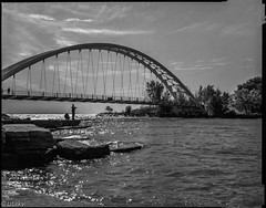Fisherman and bridge 🌉 (Uta_kv) Tags: rollei400rpx expiredfilm blackandwhitephotography graflex filmphotography bnw largeformat blackandwhite analog rollei400 4x5 film sheetfilm