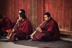 Buddhist monks inside Sakya monastery_Tingri county, Tibet (Sergio Capuzzimati) Tags: tibet monk buddhist monastery tingri instrument flute pipe music play asia travel religion meditation portrait county