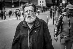 Argyle Street (Leanne Boulton) Tags: urban street candid portrait portraiture streetphotography candidstreetphotography candidportrait streetportrait eyecontact candideyecontact streetlife old man male face eyes expression mood emotion feeling beard tone texture detail depthoffield bokeh naturallight outdoor light shade city scene human life living humanity society culture lifestyle people canon canon5dmkiii 50mm primelens ef50mmf14usm black white blackwhite bw mono blackandwhite monochrome glasgow scotland uk