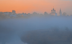 RUS72550 - Foggy Morning #3 (rusTsky) Tags: red landscape cityscape morning fog foggy water sunrise blue river architecture church orthodox russia beauty nature building smalltown sky old