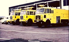 Thornycrofts ACT Luton Airport (petros.williams@btinternet.com) Tags: alastaircollinscollection thornycroftnubian rangerover lomas bedfordj carmichaelcommando lutonairport cxe541j thornycroft nubian jxd101k pxd412f yellowfireengine