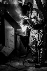 The Welder (Time to try) Tags: boat steel stainless weding welder mono monochrome sony a7rm3 mirrorless grimsby portrait smoke explore