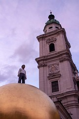 Salzburg Art (Stuart Borrett) Tags: austria isem2019 salzburg art modern church cathedral gold globe orb sky sunset evening