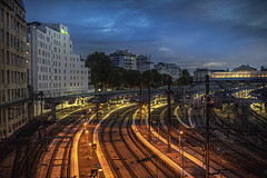 Paris, Gare de l'Est (Luc Mercelis) Tags: garedelest paris paris2015night cityscape cityoflight sonyilce7 nightshot nightscene train centraalstation france