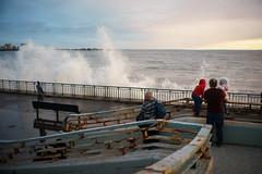 Waves (dtanist) Tags: nyc newyork newyorkcity new york city sony a7 7artisans 35mm brooklyn bath beach shore promenade waves crashing spray water ocean sea locals