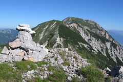 On top (LB1415) Tags: cairn mountaintop summer morning july green mountains ridge blue sky walking karavanke slovenia austria europe lb1415 allrightsreserved stones pines landscape nature