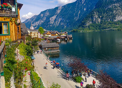 At Hallstatt. Where nature and heritage merge with their beauties. (catching image memories) Tags: hallstatt hallstattaustria austria salzkammergut lakehallstatt lake water nature mountains trees forests greensurroundings unescoworldheritage