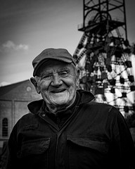 Eric (chromaphoto uk) Tags: eric astleygreen leigh lancashire coal coalfield mono monochrome portrait colliery museum heritage history headgear mine