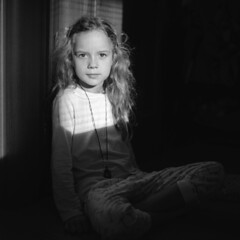 Pentacon portrait (mravcolev) Tags: portrait child girl bw blackandwhite monochrome home naturallight square film analogue analog pentaconsixtl homedevelopment epsonperfectionv700 mediumformat adox rodinal carlzeissbiometar80mm28