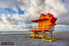 Miami Art Deco Beach (Revised) (Tim Azar) Tags: southbeach shoreline sand landscape lifeguardtower cloudy water miamibeach canon6d orange florida hdr beach ocean clouds timazar architecture sunrise miami yellow waves red
