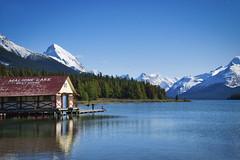 Karate Kid On The Dock (Bernie Emmons) Tags: malignelake lake alberta snow mountains canada bluesky