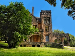 Sharon PA ~ Victorian Stone Mansion on The Hill - United States (Onasill ~ Bill Badzo - 67 M) Tags: sharon pa mercer county mansion romanesque richardsonian abandon onasill arch architecture arche victorian stone rockyhillcastle chad ford destroyed by fire