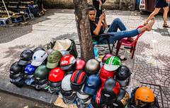Helmets diva @ Saigon street (Phg Voyager) Tags: helmets vietnam saigon girl color streetphotography street photography urban outdoor fun smile leica mp summilux phgvoyager smartphone urbanscape selling 24mm colorfull safety asia city