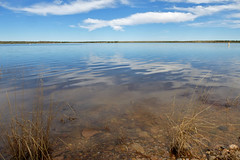 Lake Sumner.  De Baca Co., New Mexico, USA. (cbrozek21) Tags: newmexico lake sumnerlake water landscape sky peaceful openspace reflection clouds flickrunitedaward flickrtravelaward