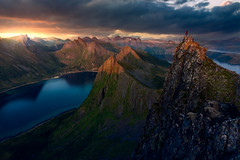 Sunset at the Summit (One_Penny) Tags: hiking mountains nature norway landscape photography scandinavia mountainscape senja husfjellet sea sky sun sunlight water clouds scenery colorful cloudy scenic dramatic peak summit fjord goldenhour athmosphere
