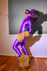 DSC06116-2 (Kory / Leo Nardo) Tags: fur furry fursuit fursuiting fursona partial partialing poodling spandex lycra shiny metalic purple cd crossdress leohex bodysuit tights paws dobie kory pupleo 2019