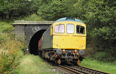 A Southern Diesel Out Of  A Lancashire Tunnel. (Neil Harvey 156) Tags: railway 33035 brooksbottomtunnel brooksbottom summerseat eastlancsrailway elr class33 brblue railblue sulzertype3 crompton