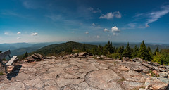 Spruce Knob Overlook (Dirtman's Images) Tags: f11 wideangle sprucemountain serene bench rocky redspruce boreal yewpiney nationalforest brierygap riverton nisicpl monongahela geology blue country eos6dmarkii chesapeakebaywatershed stitch forest alleghenyplateau alleghenymountains sky highestpeak dirtmansimages alpine lichen trails view lofty westvirginia allegheny nationalrecreationarea peaceful backcountry nature whisperingsprucetrail ettr harsh south panorama 4863feet boulders rocks appalachian trees highland seneca panoramic usa ef1635mmf28liiusm circularpolarizer scenic trail knob mountains spruceknob canon lightroom gnarly