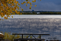 Steamy Lake (dcstep) Tags: cherrycreekstatepark colorado usa cherrycreekreservoir cherrycreeklake aurora allrightsreserved copyright2019davidcstephens snow sonya7riii sonyfe100400mmf4556gmoss water fog steam leaves fall dxophotolab dsc4722dxo rockymountains dtc denvertechcenter