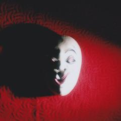 a mask (Neko! Neko! Neko!) Tags: colours mask light shadow contrast emotion expressive expressionism polaroid instantfilm peelapart analogue mamiya rb67
