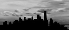Manhattan Skyline Silhouette [Long Exposure] (StephenLeedyPhotography) Tags: skyline silhouette manhattan new york freedom tower long exposure black white clouds sky longexposure
