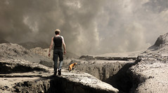 waking up on the wrong planet (Mattijn) Tags: barren landscape cat photomontage