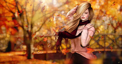 Feel the Autumn warmth (meriluu17) Tags: autumn fall leaves wind windy embody justbecause cute warmth orange falling sweater scarf people portrait