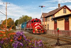 Ely, VT (Wheelnrail) Tags: color fall autumn vermont railway emd gp382 locomotive railroad rail road rails npwj local station bm boston maine vt flower butterfly ely fairlee vtr vrs
