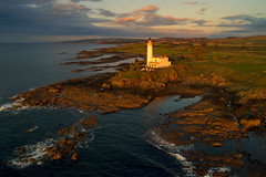 Sunset light, Turnberry Lighthouse, Ayrshire (iancowe) Tags: turnberry lighthouse sunrise ailsa craig course ayrshire maidens nlb northern board firth clyde aerial drone dji trump golf open scotland scottish sunset evening autumn turnberrylighthouse