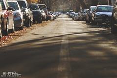 Street Parking (Hi-Fi Fotos) Tags: nikkor 105mm micro nikon d5000 hififotos hallewell residential city urban street cars parking road lane asphalt pavement autumn fall leaves