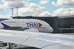 Thai Airways A380 (Can Pac Swire) Tags: lhr london heathrow airport english england britain british great unitedkingdom planespotting airliner aircraft civilian passenger airbus a380 388 a380800 thai airways tg 2016aimg3151