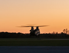 Chinook at sunset (Victor Dvorak) Tags: chinook helicopter usarmy boeing ch47 grimesfield i74 urbanamunicipalairport urbana ohio aviation flying militaryaviation airpower cargo transport sunset hover nikon d300s 2870mmf28d aviationphotography planespotting